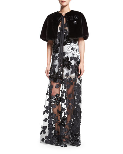 Jewel-Embellished Rabbit Fur Capelet & Sleeveless Floral-Sequined Tulle Gown