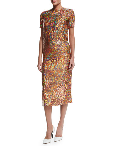 Sequin-Embroidered Short-Sleeve Top & Sequin-Embellished Pencil Skirt