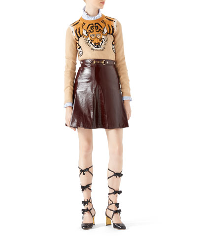 Tiger Jacquard Knit Top, Washed Oxford Shirt & Light Patent Leather Pleated Skirt
