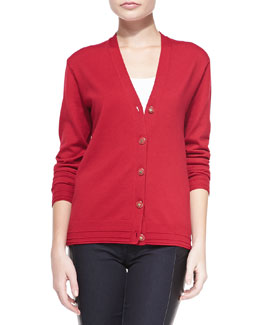 Tory Burch Madison Topstitch-Trim Knit Cardigan