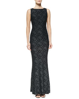 Alice + Olivia Sachi Open-Back Lace Gown, Gray