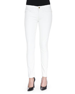 FRAME Low-Rise Skinny Leather Pants, Blanc