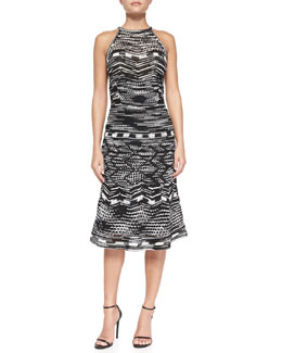 M Missoni Crochet Zigzag Knit Halter Dress with Back Keyhole