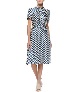 MARC by Marc Jacobs Satin Check-Print Tie-Waist Dress