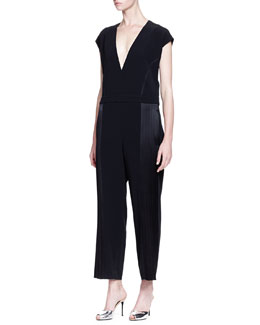 Derek Lam 10 Crosby Short-Sleeve Jumpsuit W/ Side Seam Detail