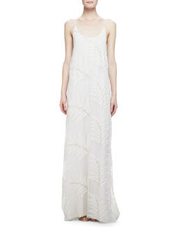 Alice + Olivia Kelly Palm-Print T-Back Dress, Cream