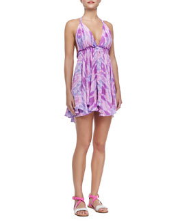LoveShackFancy Printed Halter-Neck Mini Dress