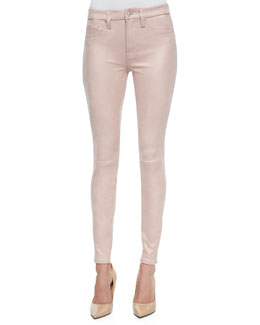 Seamed Faux Leather Skinny Pants
