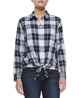 Equipment Tie-Hem Silk Plaid Blouse