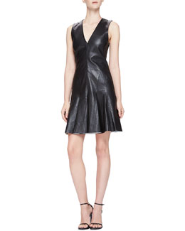 McQ Alexander McQueen Fit & Flare Sleeveless Leather Dress