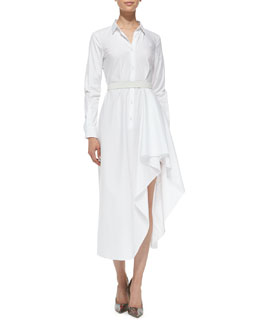 Theory Diaz Poplin Runway Long-Sleeve Dress