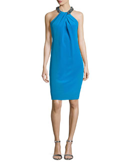 Carmen Marc Valvo Cocktail Dress with Beaded Halter Neckline, Turquoise