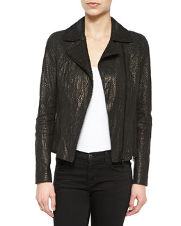 Elie Tahari Nancy Snake-Embossed Lambskin Leather Jacket