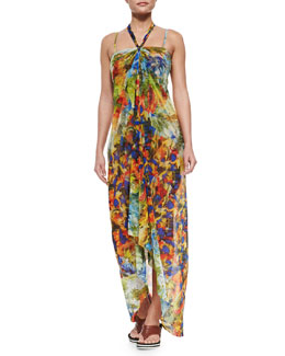 Jean Paul Gaultier Painterly-Print Halter Coverup