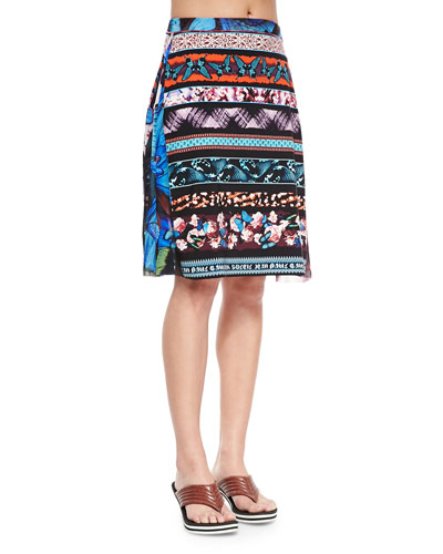 Printed Stretch Coverup Skirt