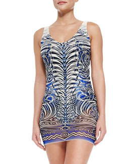 Jean Paul Gaultier Tattoo-Print Maillot with Tulle Overlay