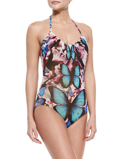 Butterfly-Print Halter One-Piece Swimsuit