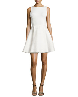 Alice + Olivia Emerson Boat-Neck Full Dress