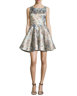 Alice + Olivia Port Metallic Full-Skirt Party Dress