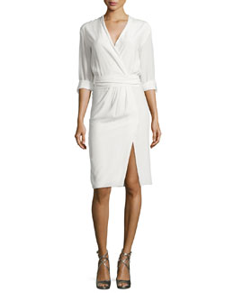 Alice + Olivia Tristan Poplin Faux-Wrap Dress