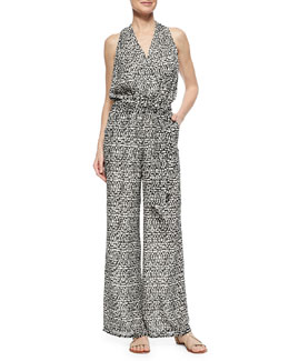 Tory Burch Tribal-Print Wide-Leg Jumpsuit