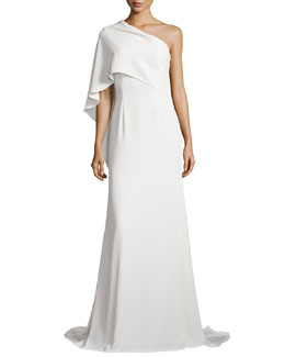 Carmen Marc Valvo One-Shoulder Cape Gown, Ivory