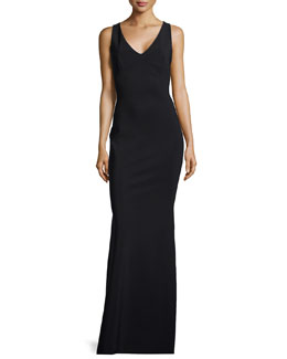 La Petite Robe di Chiara Boni Cross-Back Ponte Gown, Black