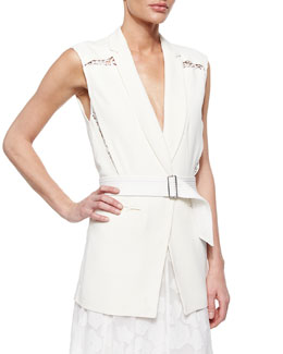 Lace-Inset Belted Suiting Vest