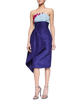 Pamella Roland Strapless Floral-Embroidered Colorblock Draped Dress