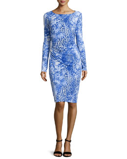 Carmen Marc Valvo Long-Sleeve Ruched Leopard-Print Dress