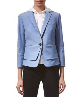 Veronica Beard Schoolboy Dotted Layered Twill Jacket