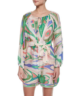 Emilio Pucci Lance Printed Crinkled Romper Coverup