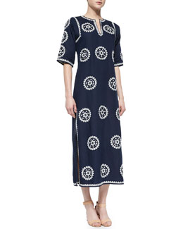 Tory Burch Half-Sleeve Embroidered Midi Caftan