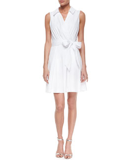 Milly Sleeveless Cotton-Blend Wrap Dress