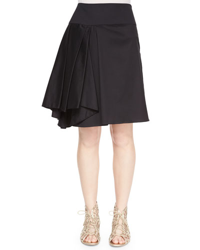 Asymmetric Pleated Midi Skirt