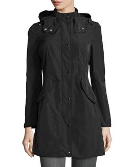 Argiela Hooded Smocked Coat, Black