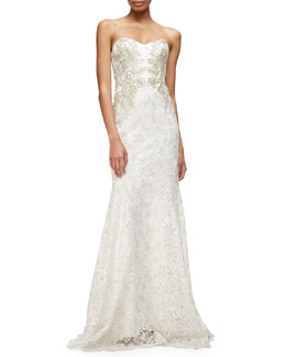 Marchesa Notte Strapless Sweetheart Lace Mermaid Gown
