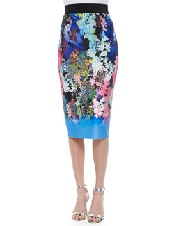 Ombre Floral-Print Midi Pencil Skirt