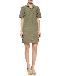 J Brand Jeans Kona Short-Sleeve Utility Shirtdress, Olive Drab