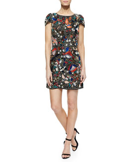 Alice + Olivia Ellen Beaded Sequined Mesh Dress