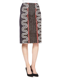 Tory Burch Embroidered Pencil Skirt