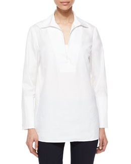 Tory Burch Long-Sleeve Cotton Tunic Blouse