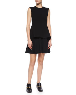 Derek Lam 10 Crosby Sleeveless Split-Back Dress W/ Flared Skirt