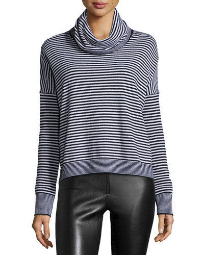 Long-Sleeve Knit Funnel-Neck Top, Black/White