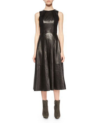Jenn Leather/Knit Cutout Dress