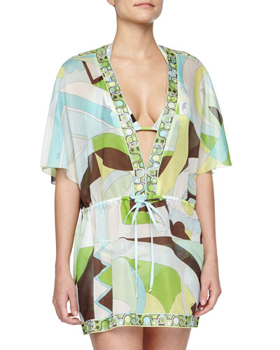 Contrast-Trim Printed Voile Coverup