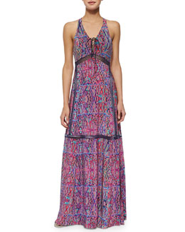 Nanette Lepore Panama City Printed Lace-Up Maxi Dress