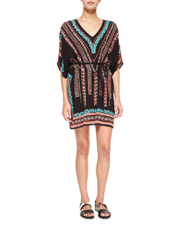 Nanette Lepore Beachside V-Neck Embroidered Caftan, Black/Multi