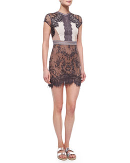 Self Portrait Short-Sleeve Lace Sequence Dress