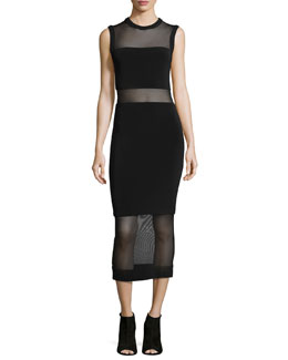 Alice + Olivia FITTED LONG SHEER INSERT DRE